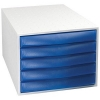 Drawer Set Plastic Robust Stable Five Drawers A4plus Grey/Ice Blue