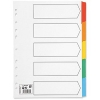 5 Star Index 150gsm Card with Coloured Mylar Tabs 5-Part A4 White