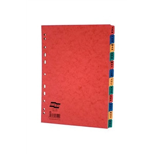 Europa Subject Dividers Pressboard 300 micron Europunched Jan-Dec A4 Assorted Ref 3109Z [Pack 5]