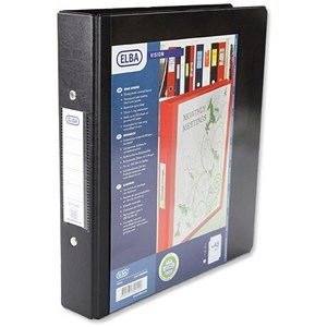 Elba Vision Ring Binder PVC Clear Front Pocket 2 O-Ring Size 25mm A5 Black Ref 100080885