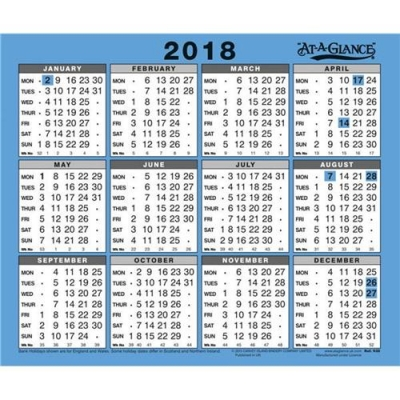 At A Glance 2018 Wall Calendar Ref 930 2018