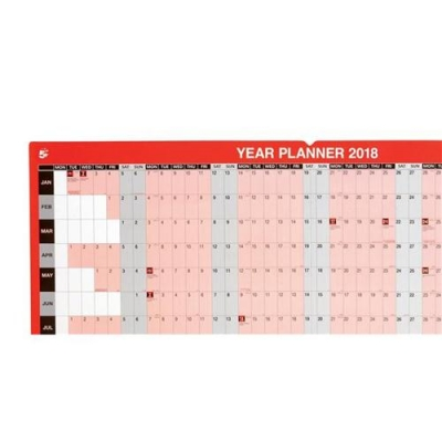 5 Star Office 2018 Year Planner Mounted
