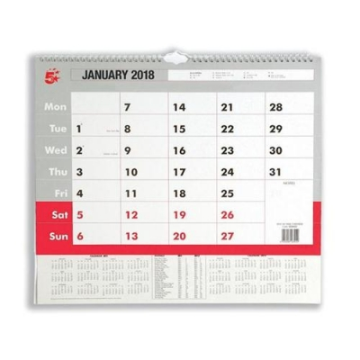 5 Star Office 2018 Wall Calendar A3