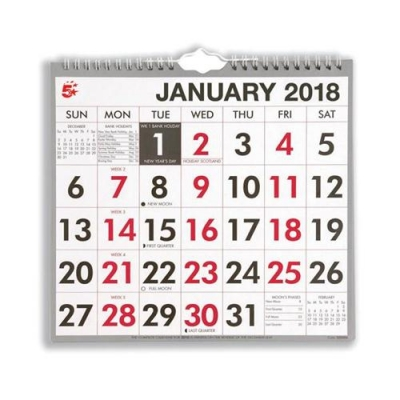 5 Star Office 2018 Wall Calendar Wire Bound Month to View