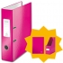 Leitz WOW Lever Arch File A4 Pink [FREE Magazine File and Notebook]