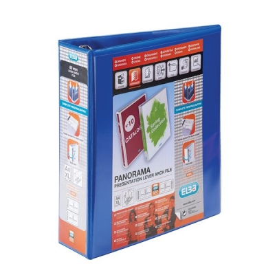 Elba Panorama Leverless Arch Binder PVC 2 Ring Size 40mm Blue A4 Ref 400008954 [Pack 5]