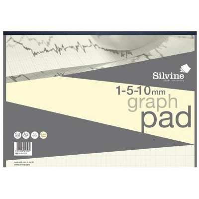 Silvine Designer Graph Pad 85gsm 1mm 5mm 10mm Grid 50 Sheets A3 Cream Wove Ref A3GPIVY