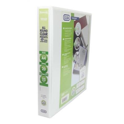 Elba Panorama Presentation Ring Binder PVC 2 D-Ring 25mm Capacity A4 White Ref 400001398 [Pack 10]