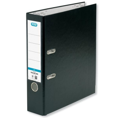 Elba Lever Arch File PVC Slotted 70mm Spine Foolscap Black Ref 100023205 [Pack 10]