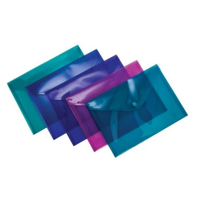 Concord Stud Wallet File Vibrant  Polypropylene A5 Assorted Ref 7090-PFL [Pack 5]