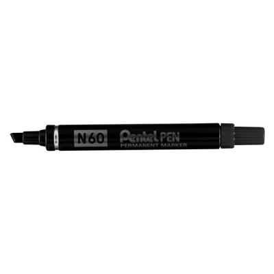 Pentel N60 Permanent Marker Chisel Tip Max.6mm Line Black Ref N60-A [Pack 12]