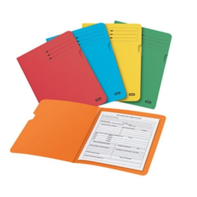 Elba Bright Folder Square Cut Recycled Heavyweight 285gsm Foolscap Assorted Ref 100090142 [Pack 25]