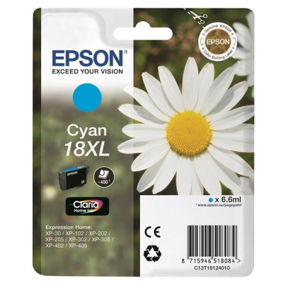 Epson 18XL Inkjet Cartridge Daisy High Capacity 6.6ml Cyan Ref C13T18124010