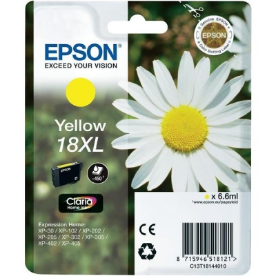 Epson 18XL Inkjet Cartridge Daisy High Capacity 6.6ml Yellow Ref C13T18144010
