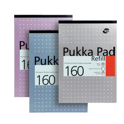 Pukka Pad Refill Pad Headbound Ruled with Margin Punched 80gsm 160pp A4 White Ref REF80/1 [Pack 6]