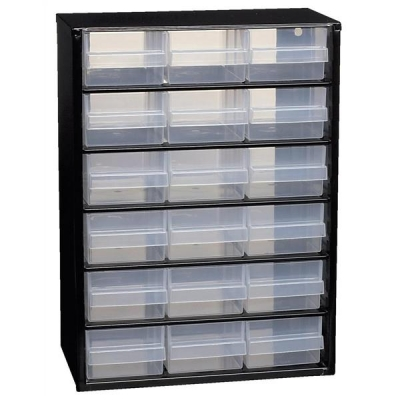 Raaco Steel Cabinet 18 Polypropylene Drawers Black Ref 132022