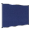 Earth-It Recycled Blue Felt Notice Board with Aluminium Frame W900xH600mm Ref FA0343790