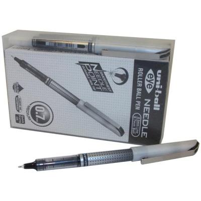Uni-ball UB-187S Eye Needle Pen Stainless Steel Point Fine 0.7mm Tip Black Ref 153528379 [Pack 14 for 12]