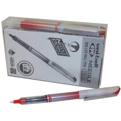 Uni-ball UB-187S Eye Needle Pen Stainless Steel Point Fine 0.7mm Tip Red Ref 153528381 [Pack 14 for 12]