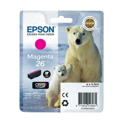 Epson T2613 26 Inkjet Cartridge Polar Bear Capacity 4.5ml Magenta Ref C13T26134010