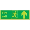 Stewart Superior Fire Exit Sign Man and Arrow Straight Up 450x150mm Self-adhesive Vinyl Ref SP129SAV