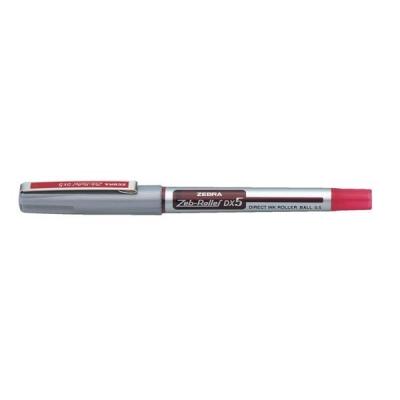 Zebra DX5 Rollerball Liquid Ink Pen Fine Needle Point Red Ref 16073 [Pack 10]