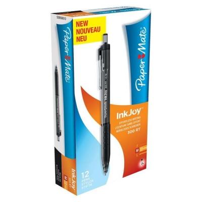 Paper Mate InkJoy 300 RT Ball Pen 1.0mm Tip Black Ref S0959910 [Pack 12]