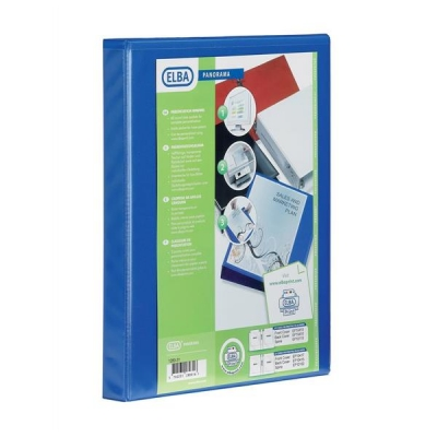 Elba Panorama Presentation Ring Binder PVC 4 O-Ring 16mm Capacity A4 Blue Ref 400020318 [Pack 5]