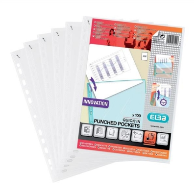 Elba Heavy Duty Quick-in Punched Pocket Polypropylene A4 Clear Ref 400012939 [Pack 100]