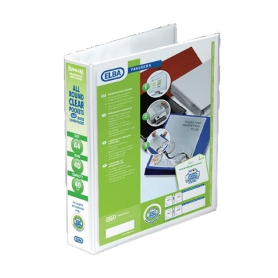 Elba Panorama Presentation Ring Binder PVC 4 D-Ring 40mm Capacity A4 White Ref 400008419 [Pack 6]