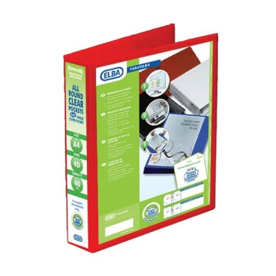 Elba Panorama Presentation Ring Binder PVC 4 D-Ring 40mm Capacity A4 Red Ref 400008507 [Pack 6]