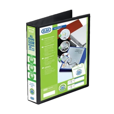 Elba Panorama Presentation Ring Binder PVC 4 D-Ring 40mm Capacity A4 Black Ref 400008417 [Pack 6]