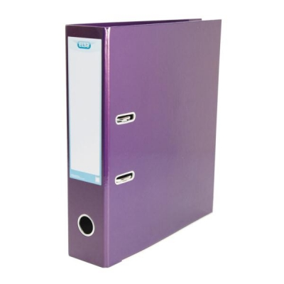 Elba Lever Arch File Laminated Gloss Finish 70mm Capacity A4 Metallic Purple Ref 400021021