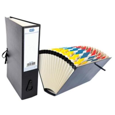 Elba Expanding File with Cloth Ties A-Z 1-31 Jan-Dec Foolscap Black Ref 100080766