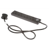 Extension Lead 2 Metres Surge Protected 4 Socket Black