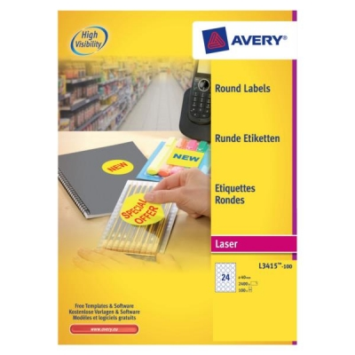 Avery Special Labels Removable Round 24 per Sheet 40mm Diameter White Ref L3415-100 [2400 Labels]
