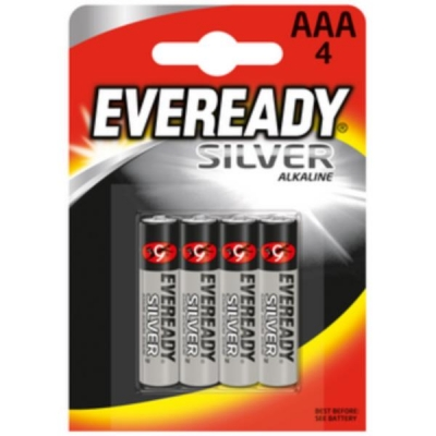 Eveready Silver Alkaline Battery AAA PK4 Ref 637330 [Pack 4]