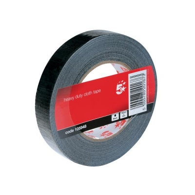 5 Star Cloth Tape Roll 25mmx50m Black