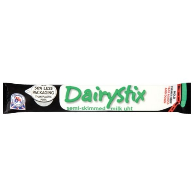 Dairystix UHT Semi-skimmed Milk Longlife Sticks Easy Tear and Pour 12ml Ref A07707 [Pack 250]
