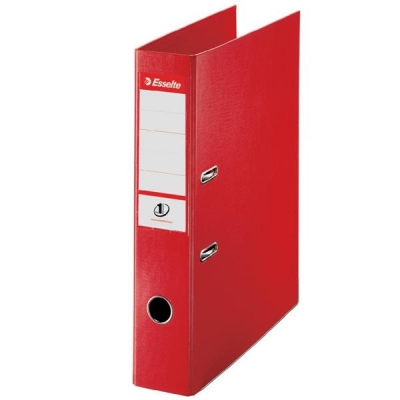 Esselte No. 1 Power Lever Arch File PP Slotted 75mm Spine Foolscap Red Ref 48083 [Pack 10]