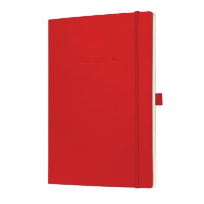 Sigel Conceptum Notebook Leather Look Soft Cover 80gsm Plain 194pp A4 Red Ref C0218