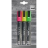 Sigel Chalk Marker Chisel Tip 1-5mm Line Flourescent Assorted [Pack 3]