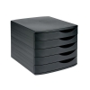 5 Star Desktop Drawer Set 5 Drawers A4 and Foolscap Black/ Black