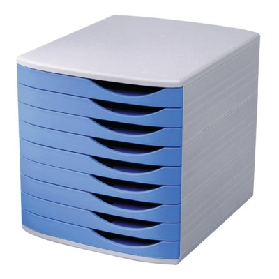 Invo Desktop Drawer Set 9 Drawers A4 and Foolscap Grey/ Blue