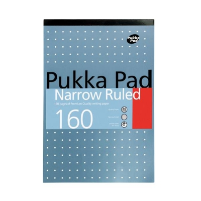 Pukka Metallic Refill Pad Headbound Punched Feint Ruled 6mm Margin 160pp 80gsm A4 Ref 6253-REF [Pack 6]