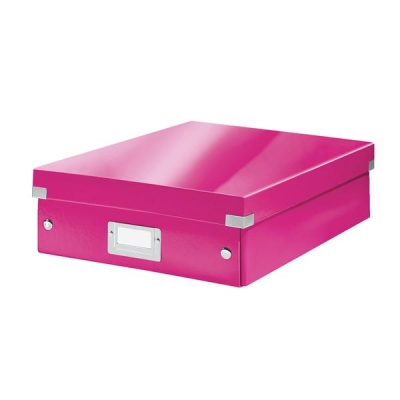 Leitz WOW Click and Store Organiser Box Medium Pink Ref 60580023