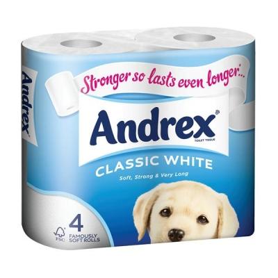 Andrex Toilet Rolls Classic White Ref M01389 [Pack 4]