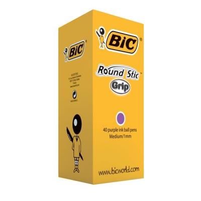 Bic Round Stic Grip Pen 1.0mm Tip 0.4mm Line Purple Ref 920412 [Pack 40]