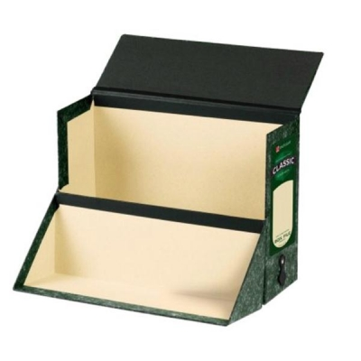 Rexel Classic Rigid Extra Deep Storage Case with Linen Hinges Foolscap Green/Black Ref 49215EAST [Pack 2]