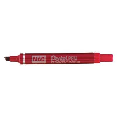Pentel N60 Permanent Marker Chisel Tip Max.6mm Line Red Ref N60-B [Pack 12]